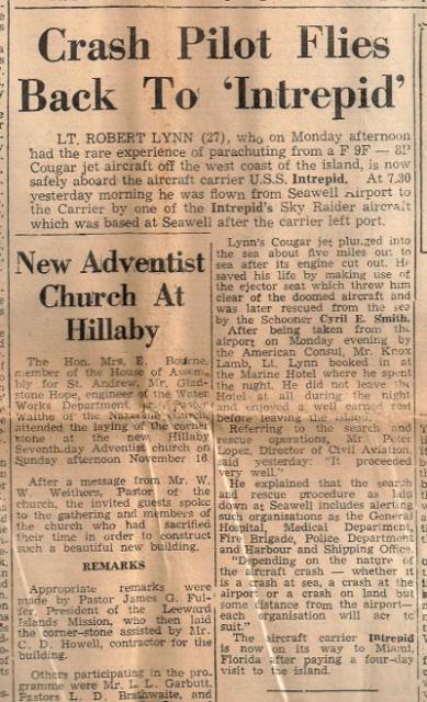 Barbados Advocate November 19, 1958, U.S.S. Intrepid
