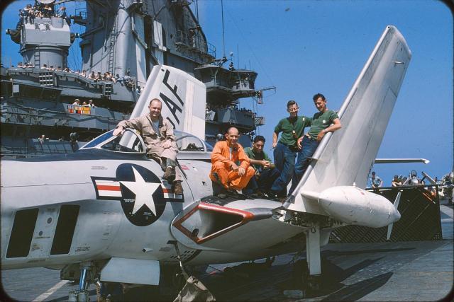 Relaxing on the USS Intrepid Flight Deck